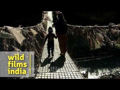 Animals and people cross a suspension bridge in Haa District, Bhutan