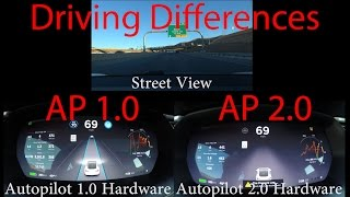 The difference in Driving Tesla Autopilot 1.0 VS 2.0!