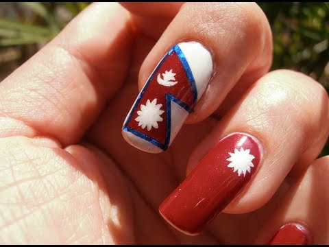 Nepal Flag in Space Nepal Flag Nail Art