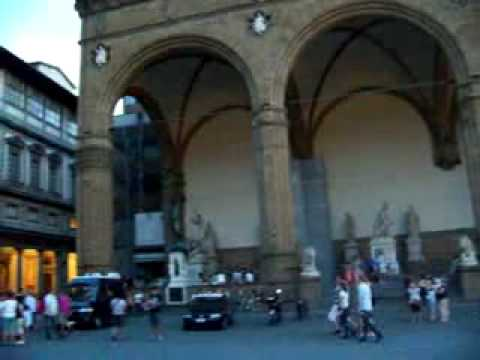 Florence city square with statue of David Video