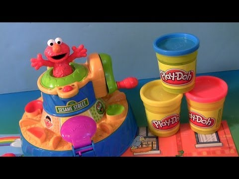 Play Doh Color Mixer Learn Colors as Elmo Talks With Cookie Monster Sesame Street toy Review