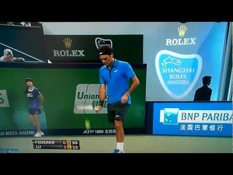 ATP LIVE power slice serve Roger Federer vs Yen-Hsun Lu Masters Shanghai 2012