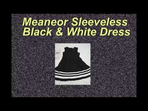 Meaneor Sleeveless Black and White Dress