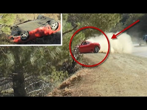 Crazy Ferrari Crash , Car Flips Down Steep Embankment
