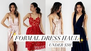 AFFORDABLE PROM/FORMAL DRESS HAUL + REVIEW! (under $50)   rachspeed