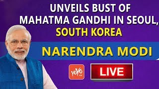 PM Modi South Korea LIVE | PM Narendra Modi unveils bust of Mahatma Gandhi in Seoul