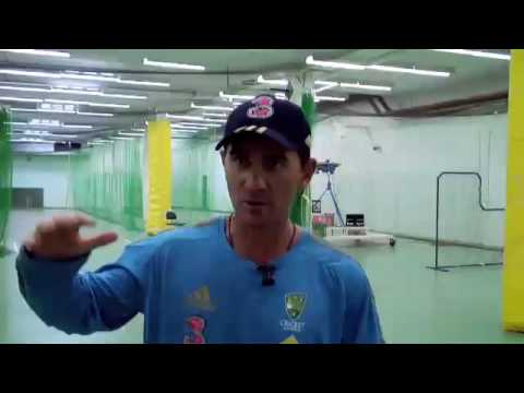 Justin Langer talks to CATV at his first team training as batting coach
