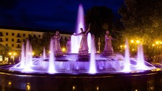 Поющий фонтан Семь Девушек  в Уфе. Открытие. The singing fountain.