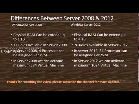 Differences Between Server 2008 & 2012