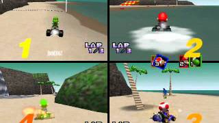 Mario Kart 64 Netplay: Koopa Troopa Beach 4 player race