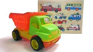 Развивающее видео для детей про машинки: пожарная машина, грузовик, автобус и другие пазлы