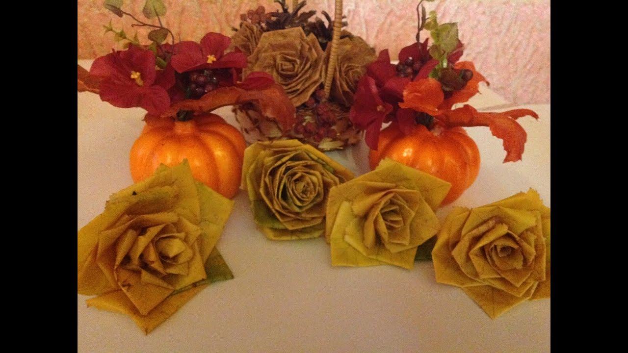 Цветы из сухих листьев своими руками мастер класс
