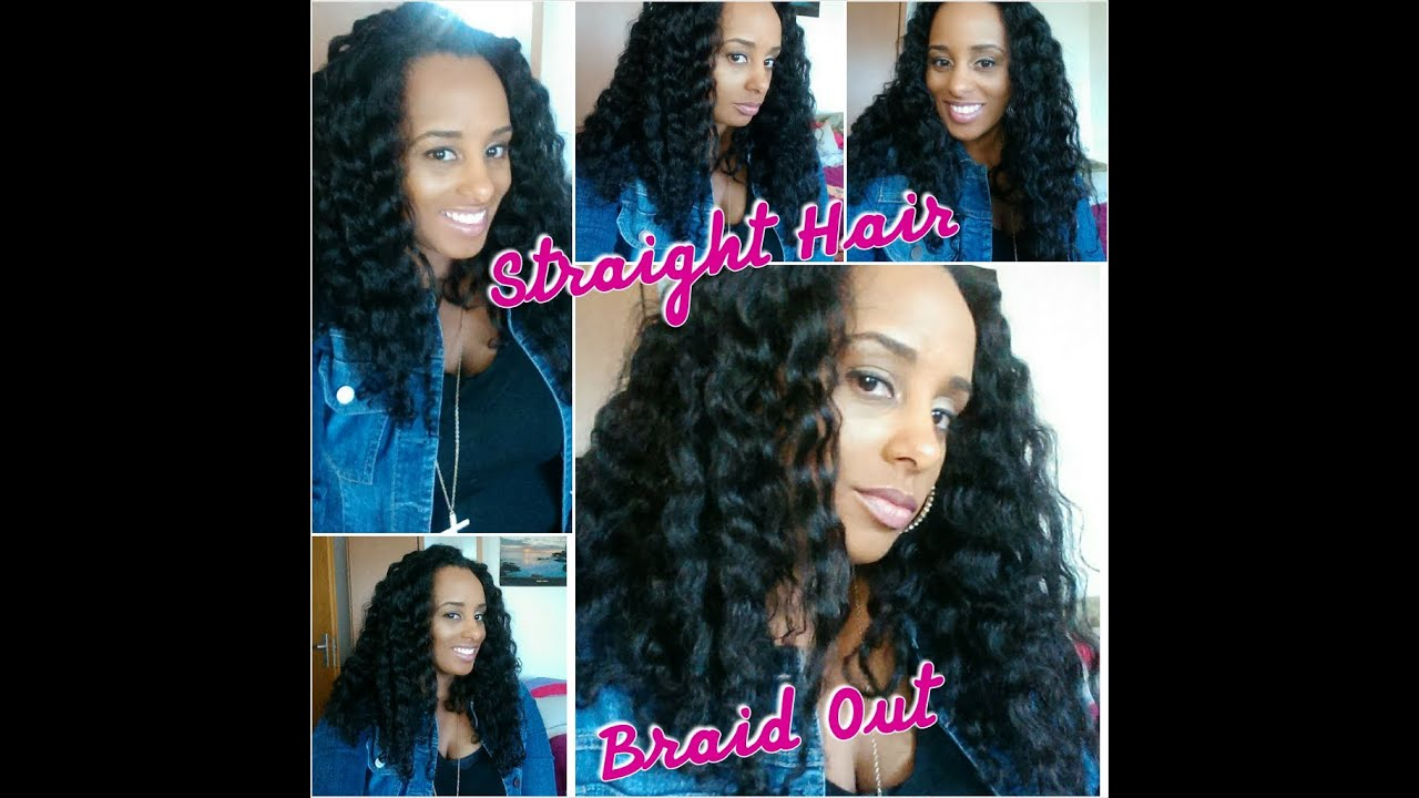 (104) Braid Out on Natural Flat Ironed Hair Using Shea Moisture - YouTube