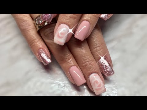 Feature nail done with Blossom Gel/UrSugar & Sand Glitter