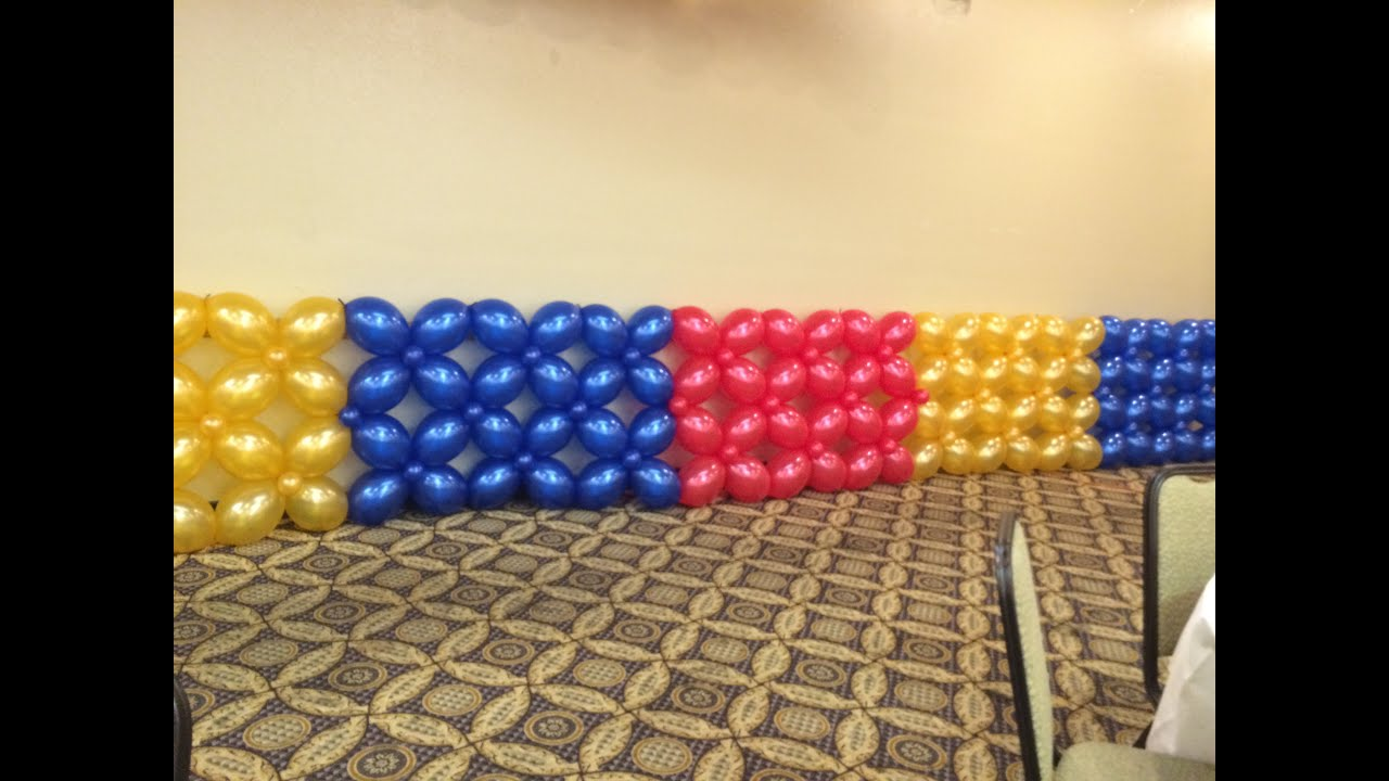 How to make balloon wall lattice style youtube for Balloon decoration ideas youtube