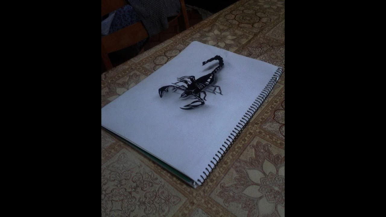 3d Scorpion Drawing Illusion Youtube