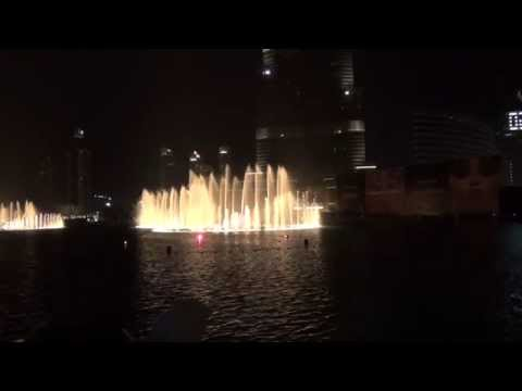 The Burj Khalifa dancing fountains - ANDREA BOCELLI-SARAH BRIGHTMAN...