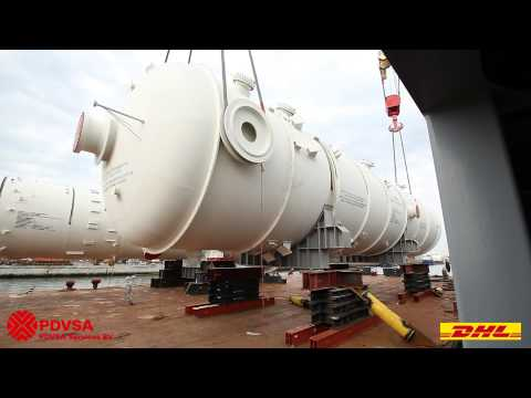 4000 tons of absorber tower, reactors and demethanizer moved (break bulk / oversize) by DHL. Video 3