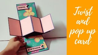 how to make twist and popup card | diy birthday card | handmade birthday card