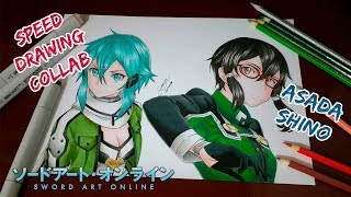 Speed Drawing - Asada Shino (Sword Art Online) Collab