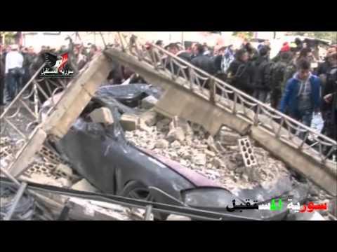 First footage of car-bomb explosion in al-Hadara Street in Ikrima neighborhood, Homs, Syria
