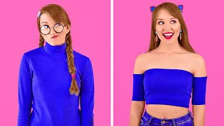 COOL DIY CLOTHES HACKS  Girly Clothes Transformation Ideas by 123 GO!
