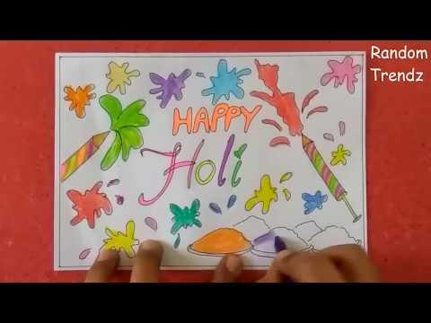 Holi greeting card idea holi poster ideahappy holi drawing ideas greeting card idea holi poster ideahappy holi drawing ideas for kidssimple holi drawing ideaa m4hsunfo