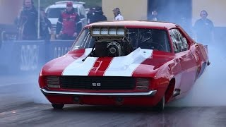 JOHNNY ROSO SUPERCHARGED V8 CAMARO 6.04 @ 240 MPH SYDNEY DRAGWAY 12.4.2015