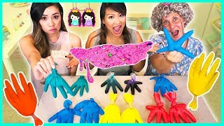 Don't Choose the Wrong Glove Slime Challenge! Pretend Toy School with Princess ToysReview