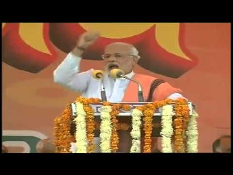 Narendra Modi addressing Vijay Shankhnad Rally in Agra, Uttar Pradesh