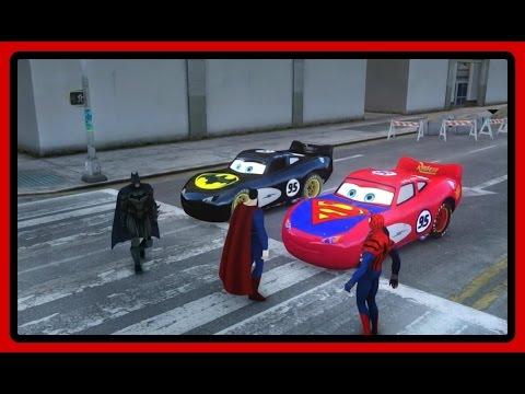 Superman vs Batman vs Spiderman Lighting Mcqueen Disney Marvel Pixar disney gta mod toy reviews ryan