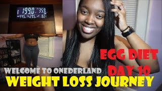 EGG DIET CHALLENGE DAY 10 | WEIGHT LOSS JOURNEY | WEIGH-IN | 19 pounds in 10 Days :) ONEDERLAND!