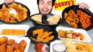 TRYING DENNY'S APPETIZERS MENU! - Nachos, Mozzarella Sticks, & MORE Restaurant Taste Test!