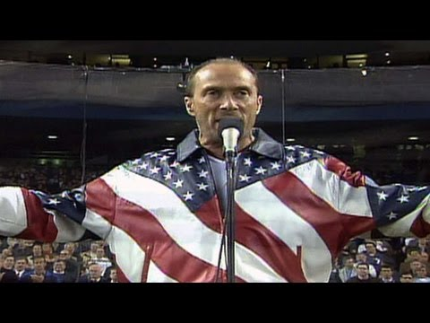 "10/31/01: Lee Greenwood sings ""God Bless the USA"" at Yankee Stadium prior to Game 4 of the World Series between the D-backs and Yankees Check out http://MLB.com/video for more! About MLB.com:..."