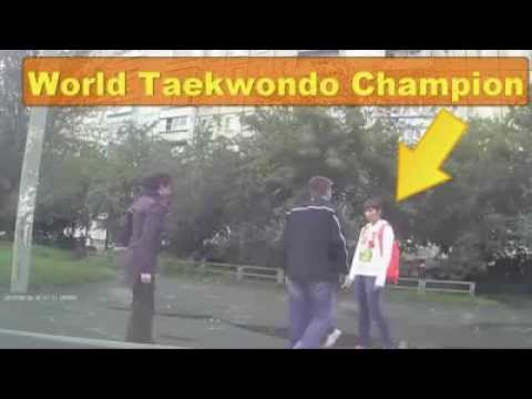 WORLD TAEKWONDO CHAMPION GIRL MAKES KO Aggressor IN THE STREET Image 1