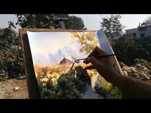 Watercolor Landscape Painting step by step  | M KAZMI STUDIOS