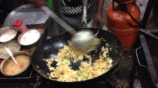Indian Street food. Making fried rice in Chennai