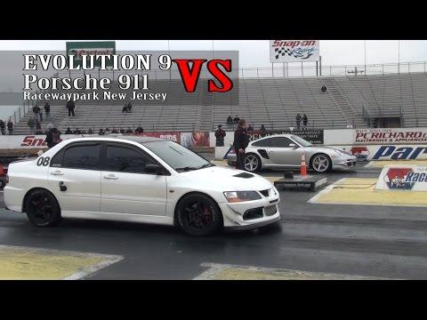 Evolution 9 vs Porsche 997 drag race