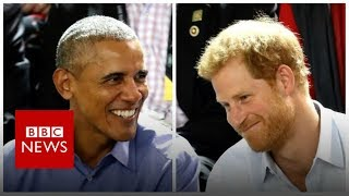Prince Harry grills Barack Obama in quickfire quiz - BBC News