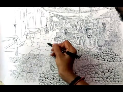 Indian Marketplace Drawing How to draw vegetable market