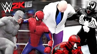 SPIDERMAN VS RHINO VS CARNAGE VS VENOM VS SANDMAN VS KINGPIN | WWE 2K16