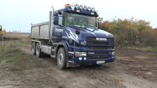 Scania T500 V8 and Volvo FH 12 is loaded by a Åkermans H5M 2013