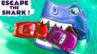 Cars McQueen in escape the shark challenge against Hot Wheels superhero cars TT4U