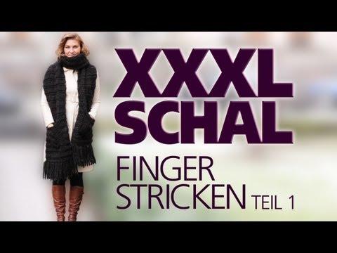 Xxxl Schal Fingerstricken   Fingerhäkeln Für Anfänger *teil 1* video