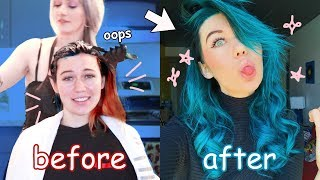 DYING MY HAIR FROM RED TO BLUE *rip my hair*