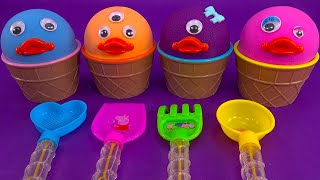 4 Color Kinetic Sand in Ice Cream Cups with Fruit | Learn Colors | Surprise Toys | Kinder Joy