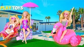 Barbie Doll Morning Routine Dress up & Pink Car Ride to Barbie Swimming Pool Party by Play Toys!