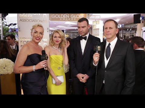 Naomi Watts and Liev Schreiber on the HFPA Red Carpet Stage - Golden Globe Awards (2015)