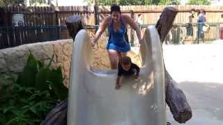 Lucas going down the slide at Schlitterbahn