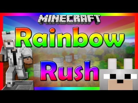 Minecraft - RAINBOW RUSH Mini-Game W/ Friends HARD PARKOUR MAP!!!